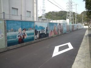 洲本変電所の壁の壁画