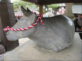 河上神社天満宮 牛の石像